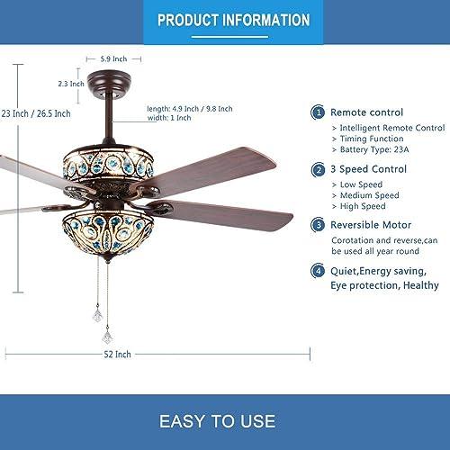 RainierLight Crystal Ceiling Fan Lamp LED Light