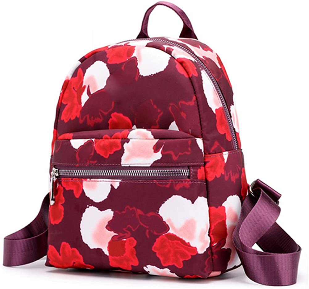 Purple 856store Casual Leisure Floral Waterproof Large Capacity Zipper Women School Bag Travel Backpack