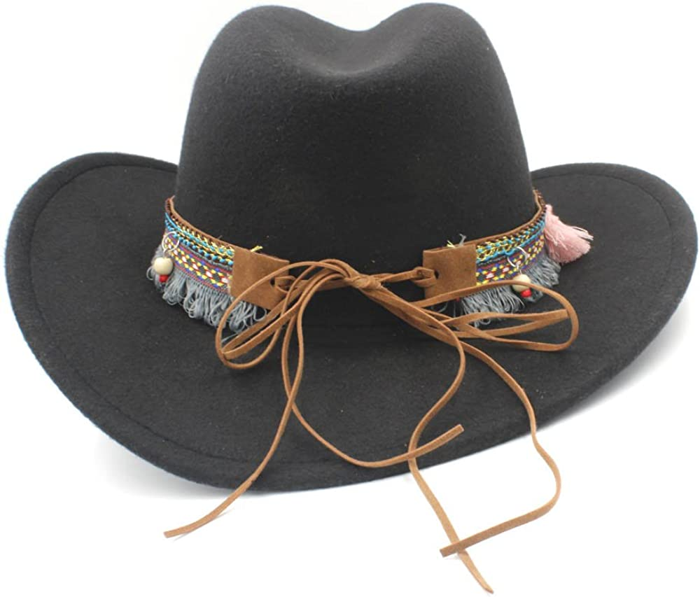 Color : Natural, Size : 58cm L.Z.H Cap Womens Straw Western Cowboy Hat with Bohemian Tassel Ribbon Star Lady Sombrero Hombre Cowgirl Hat
