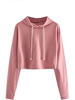 Serwell Women Hooded Sweatshirt Long Sleeve Drawstring Pullover Tops With Front Pockets Hoodies