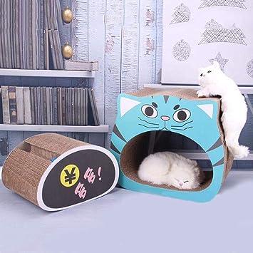Mlec tech 2 en 1 Rascador de Gato con Pelota para Cama y Sofá Almohadillas Rascadores para Gatos de Carton Reciclado Corrugado Gato Rascando Salón: ...