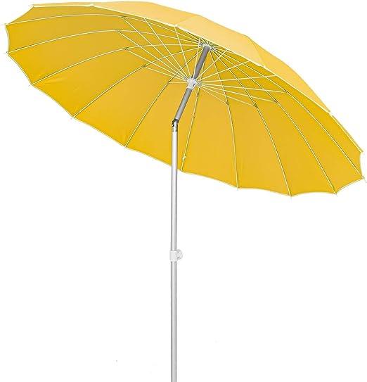 Lola Home Parasol sombrilla con Varillas Flexibles de Fibra de Carbono y Aluminio (Mostaza): Amazon.es: Jardín