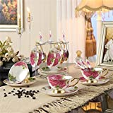 NDHT Set of 6 Bone China Ceramic Tea Cup Coffee Cup Set Coffee Cup with Saucer,Pink Rose ,White and Pink