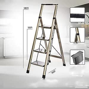 Plegable Aluminio Aleación Escalera,con Pasamanos Antideslizante Escaleras De Mano 4 Pasos Escalera Para El Hogar Cocina Oficina Almacén-a: Amazon.es: Bricolaje y herramientas