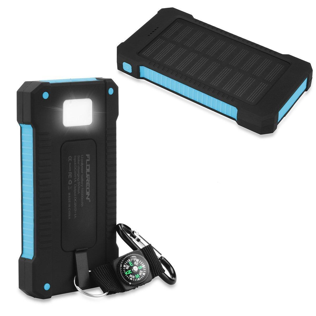 FLOUREON Batterie Externe Portable Batterie de Secours Chargeur Solaire Etanche 10000mAh avec 2 ports USB Boussole et Lampe Torche LED pour Smartphones Samsung Iphone et Tablettes - Bleu