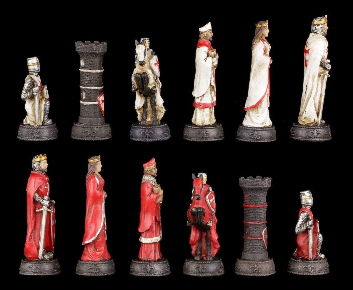 Ritter Mittelalter Schach Figuren Schachfiguren Set Kreuzritter Weiß und Rot