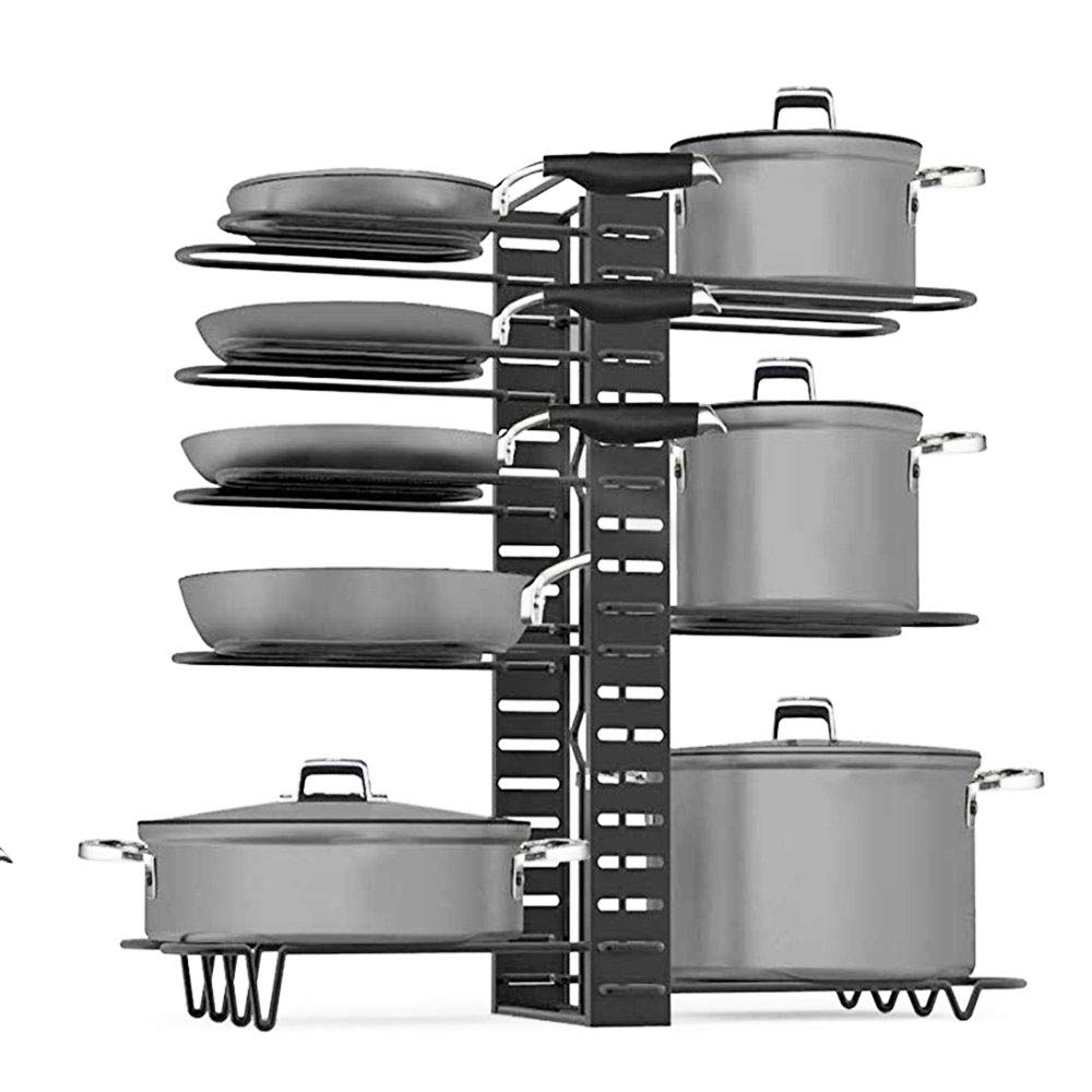 Pan Rack Organizer - Adjustable 8 Pots Holder - Kitchen Cabinet Pantry Pot Lid Holder