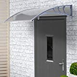 VonHaus Polycarbonate Door Canopy - Single Corrugated Panel Shelter for Patio & Porch Cover, Window Shade and Door Awning (L120 x W75 x H24 cm)