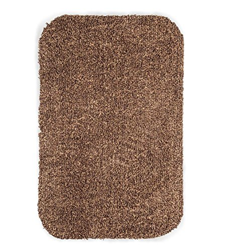 Low Profile Microfiber Mat - Large Mud Rug, Absorbent Dirt Trapping Machine Washable, Non Slip Indoor Mat, 29 W x 39 L - Brown