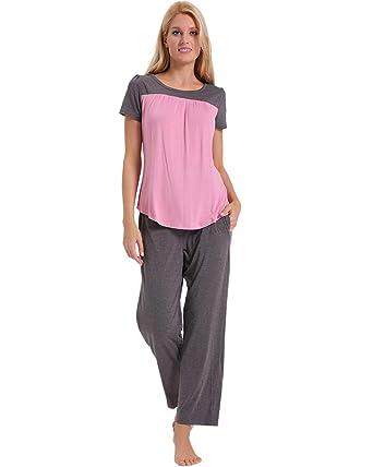 cdd9ce40fd ENIDMIL Womens Soft Cotton Pajama Set Short Sleeve Top and Long Pants  Bottom Sleepwear Loungewear PJ