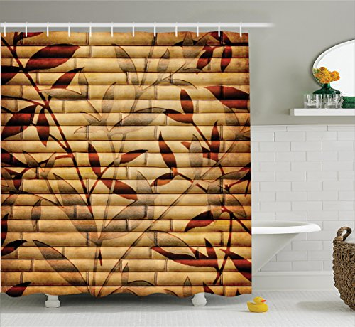 Beige Decor Shower Curtain Set by Ambesonne, Decorative Bamboo Stems and Leaf Figures over It Spiritual Asian Elements Boho Print, Bathroom Accessories, 75 Inches Long, Brown Tan Beige (Long Stem Print)