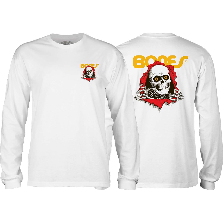 X-Large Powell-Peralta Ripper White Mens Long Sleeve T-Shirt