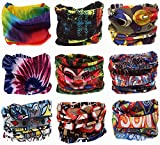 Pack of 9PCS, Outdoor Multifunctional Sports Magic Scarf, Magic Bandanas Tube, Seamless Scarf, Collars Muffler Scarf Face Mask, High Elastic Magic Headband with Uv Resistance, Headscarves, Headbands (Colorful)