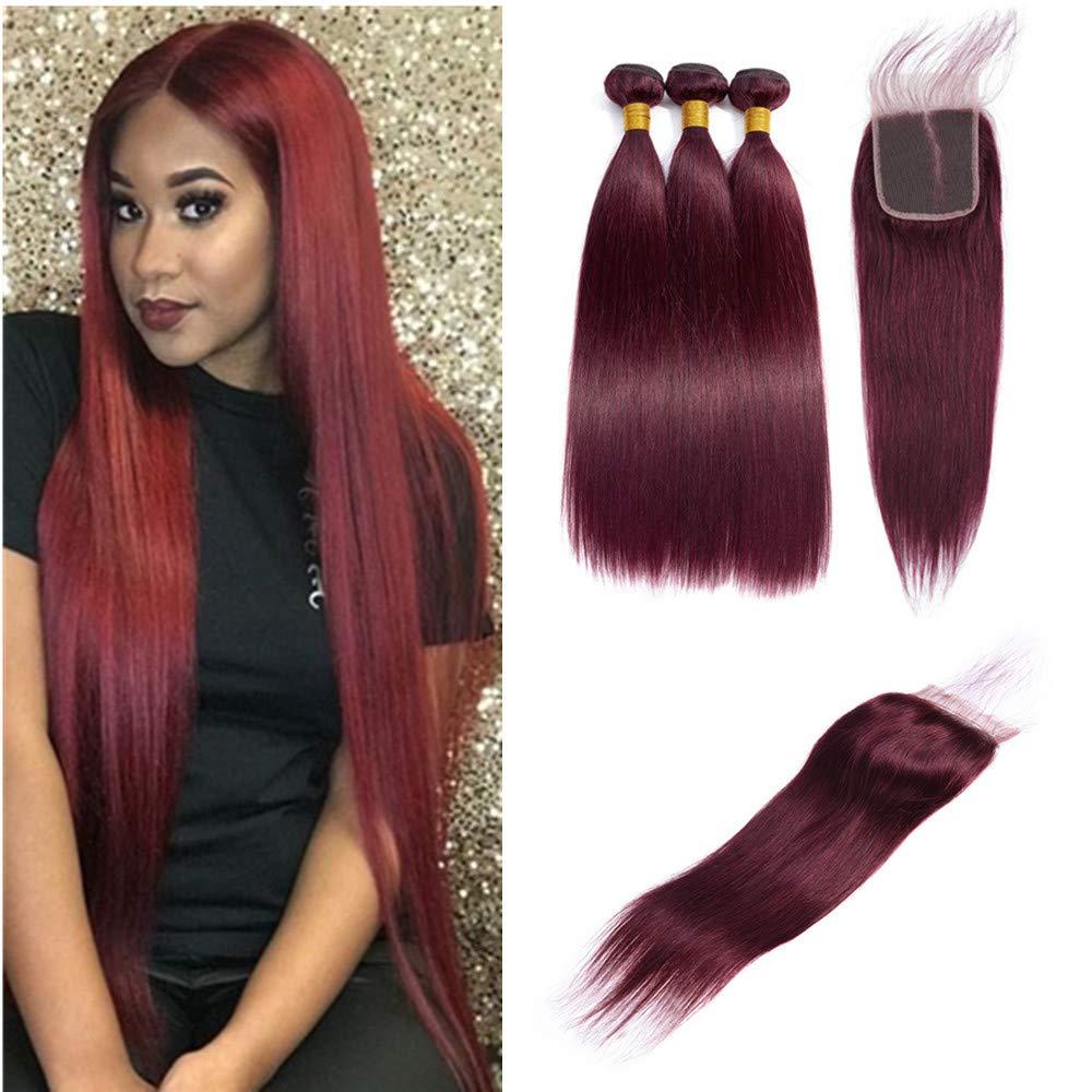Brazilian Virgin Hair 99j Wine Red Burgundy Straight Hair Weaves 3 Bundles With 4X4 Lace Closure 100% Human Hair Weft Pure Color Silky Straight Hair (10 12 14 with 10c, Burgundy/99J)