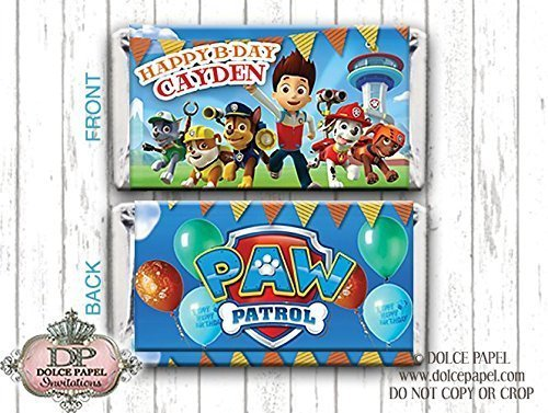 10 Paw Patrol Gang Happy Birthday Party Style Mini Hershey Candy Bar Wrappers - Hershey Candy Wrapper