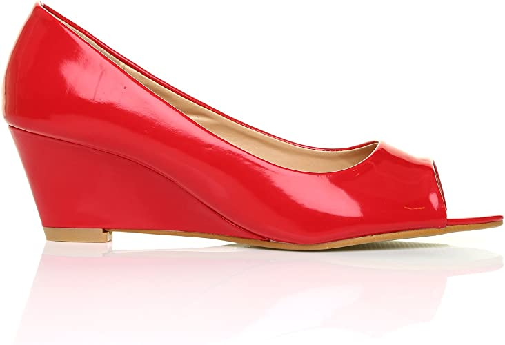 HONEY Red Patent PU Leather Wedge Mid