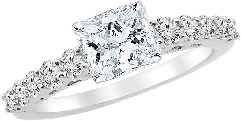 3 75 Carat 14k White Gold Graduating Classic Princess Cut Diamond Engagement Ring 3 Ct J Color Si1 Clarity Center Stone Amazon Com