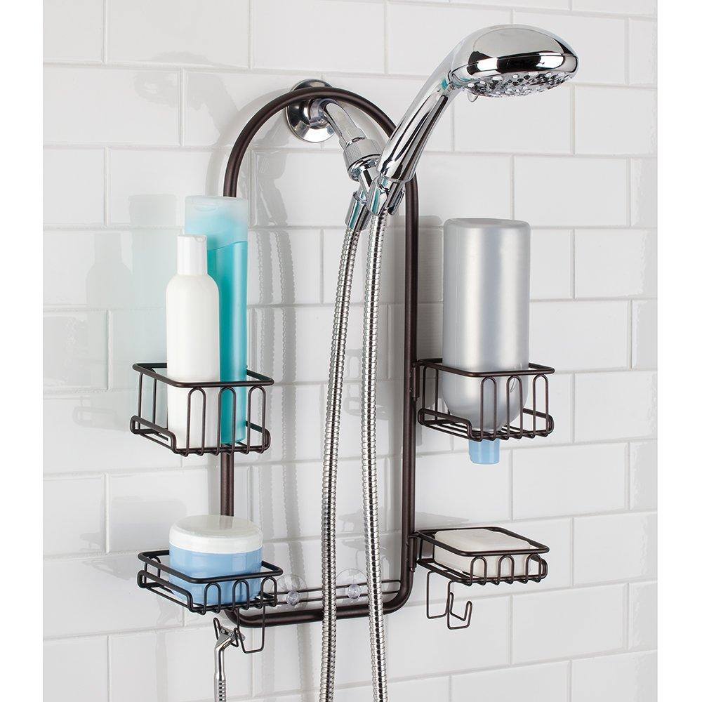 InterDesign Classico Handheld Shower Head Bathroom Caddy – Storage Shelves for Tall Shampoo and Conditioner Bottles, Bronze by InterDesign (Image #3)