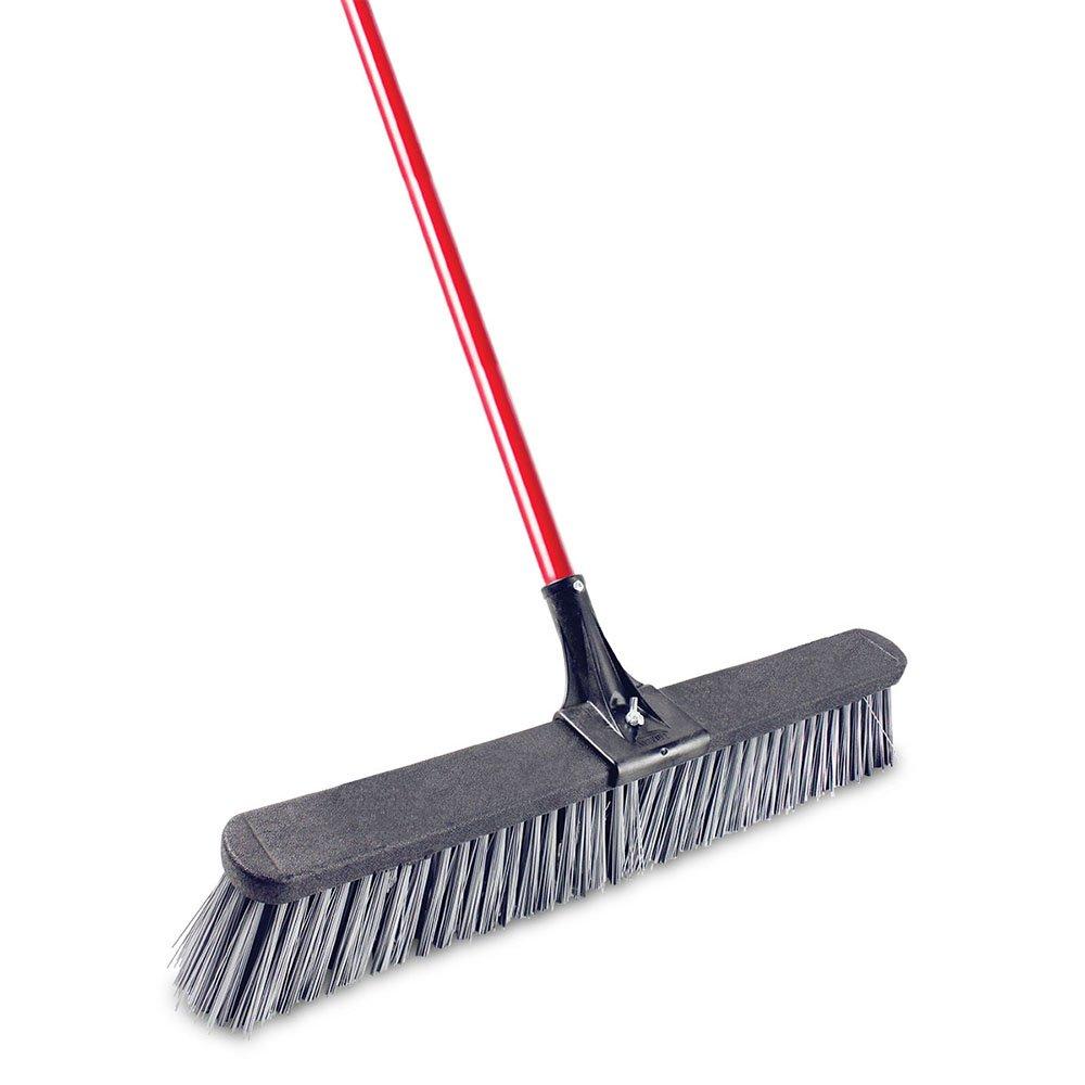 Libman Commercial 823 Multi-Surface Push Broom Red /& Black Pack of 3 Steel Handle 24 Wide Sweep