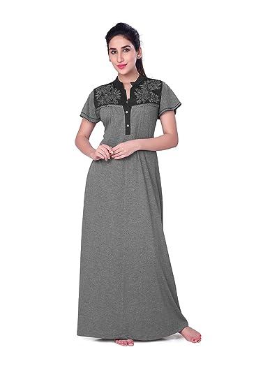 58d87f4c870d HoneyDew Womens Cotton Hoisery Plain Nighty - China Collar Neck