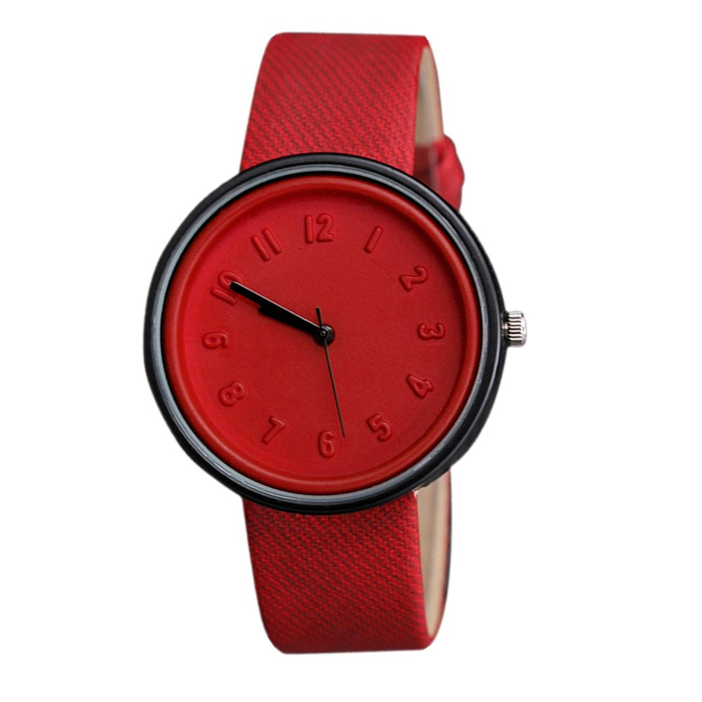 Charberry Unisex Simple Number Watches Quartz Canvas Belt Wrist Watch Red by Charberry (Image #1)