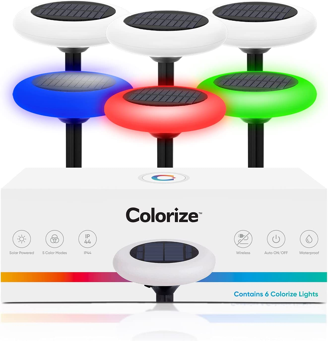 Colorize Colorful Pathway Solar Light (6 Lights) Decorative Weatherproof Auto On/Off Outdoor Lights: Garden, Landscape, Patio, Pool, Yard