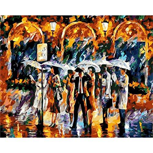 LovetheFamily 数字油絵 数字キット塗り絵 手塗り DIY絵 デジタル油絵 雨の中でバス停 40x50cm ホーム オフィス装飾の商品画像