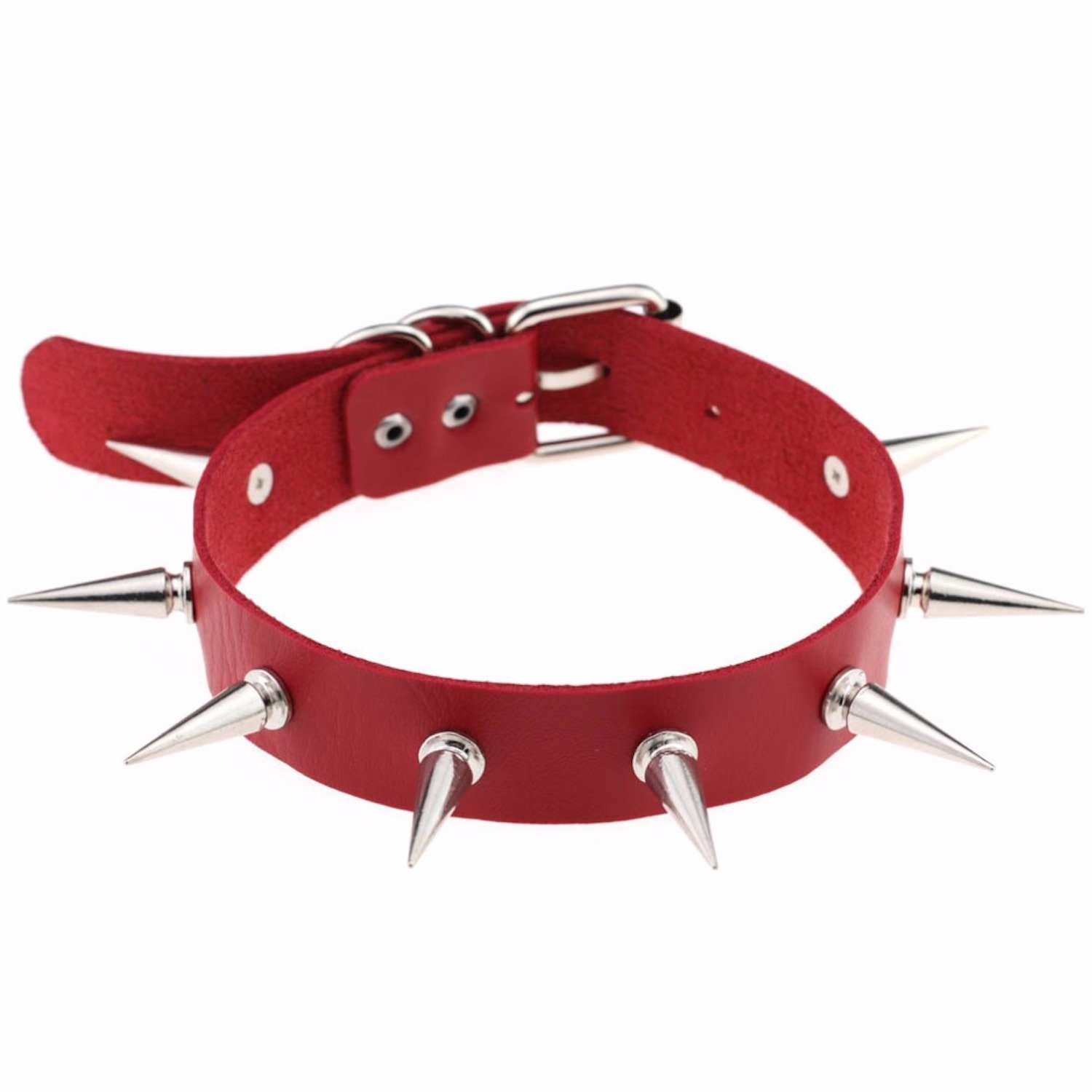 Unisex Simulated Leather PU Punk Rock Gothic Spikes Rivets Choker Collar Necklace Happy Memories