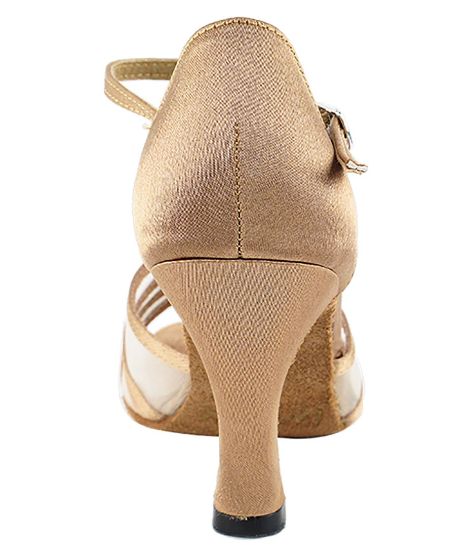 Very Fine Ballroom Latin Tango Salsa Dance Shoes for Women 1692 2.5 Inch Heel + Foldable Brush Bundle B01N14235V 5 B(M) US|Brown Satin & Flesh Mesh