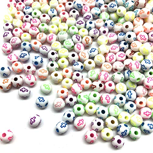 PEPPERLONELY 500PC Mixed Color Acrylic Cross Pattern Round Spacer Beads 6mm(1/4 Inch)