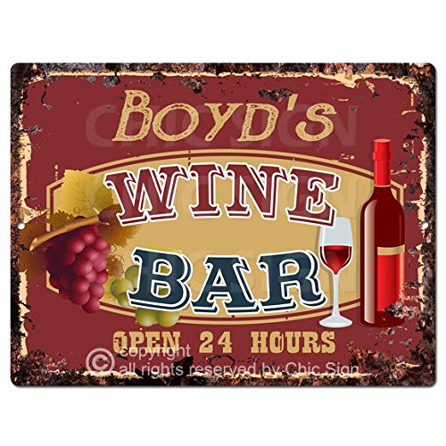 (BOYD'S WINE BAR Open 24 Hours Sign Rustic Tin Chic Vintage Retro Metal Plate Store Home man cave Decor Funny Gift)