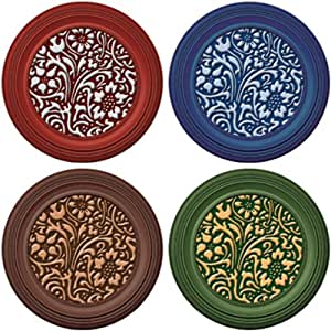 Joster Coasterica 2-in-1 Metal Petal Silicone Stemware Coaster and Glass Marker, Set of 4