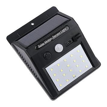 MagiDeal Solar LED Luz Impermeable de Pared PIR Sensor de Movimiento Aire Libre para Jardín -