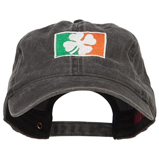 4ccc165a77c46 E4hats Ireland Flag With Shamrock Embroidered Washed Cap - Black OSFM