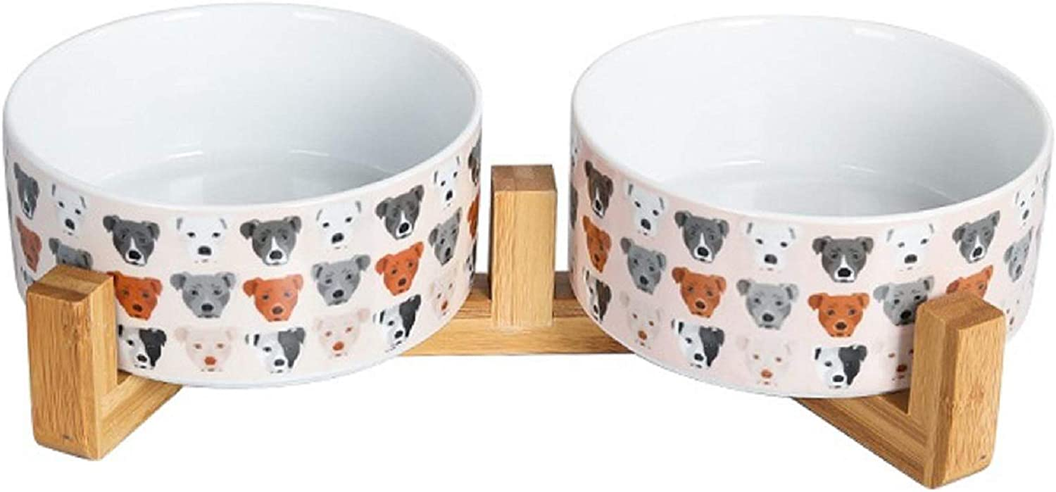 Dog Food Bowl Water Feeder - Non Slip Durable Ceramic Cat Bowl Dish for Dogs Cats Rabbits Puppy,with Wood Stand,28 Ounces(Pink x 2)
