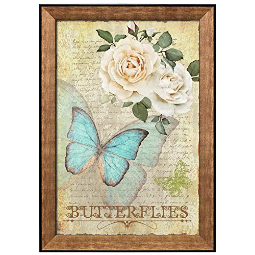 Collage of Slow Motion of a Blue Butterfly Flying Towards Roses on Top of Handwriting Framed Art