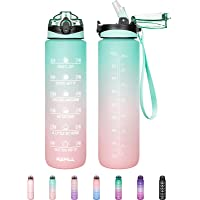 32 oz Motivational Water Bottle with Straw & Time Marker - Leakproof & BPA Free Frosted Tritian Portable Reusable…