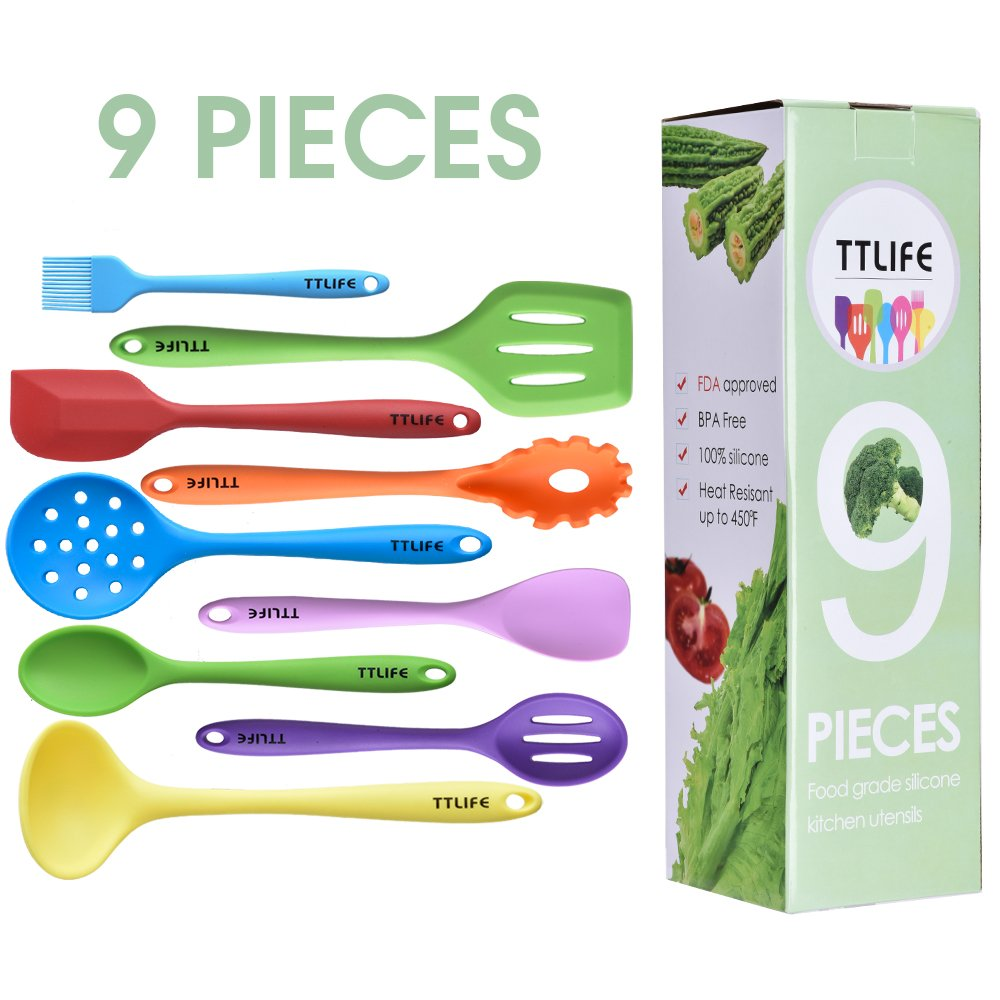 colorful kitchen utensils. TTLIFE Silicone Utensils Colorful Kitchen Tools Cutlery Kit I