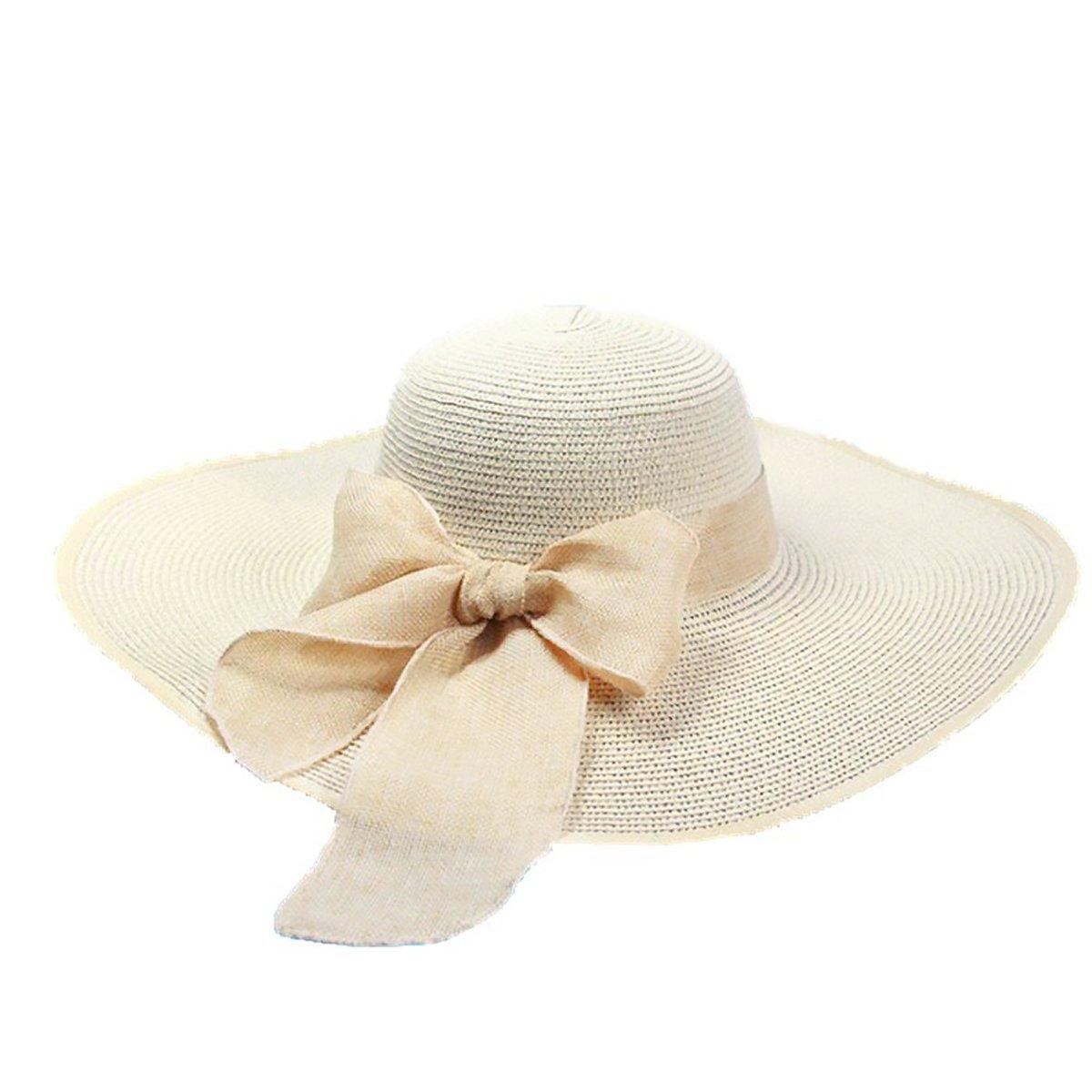 Rocita Cappello da Sole della Paglia di Donna Tesa Larga Pieghevole Floscio Estivo Spiaggia Cappello con Bowknot