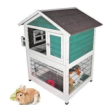 DJLOOKK Animales pequeños jaulas Mascotas de Interior y al Aire Libre, casa, jaulas de conejitos, aparador para Conejos al Aire Libre,Green: Amazon.es: ...