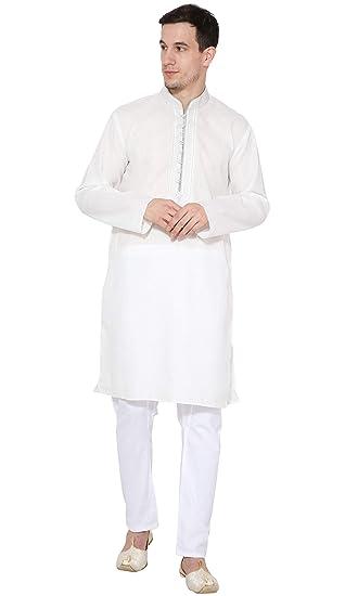 28ecf1ce01 Kurta Pajama Men Indian Long Sleeve Cotton Shirt Pyjama Designer Traditional  Casual Wear Outfit -M White  Amazon.co.uk  Clothing