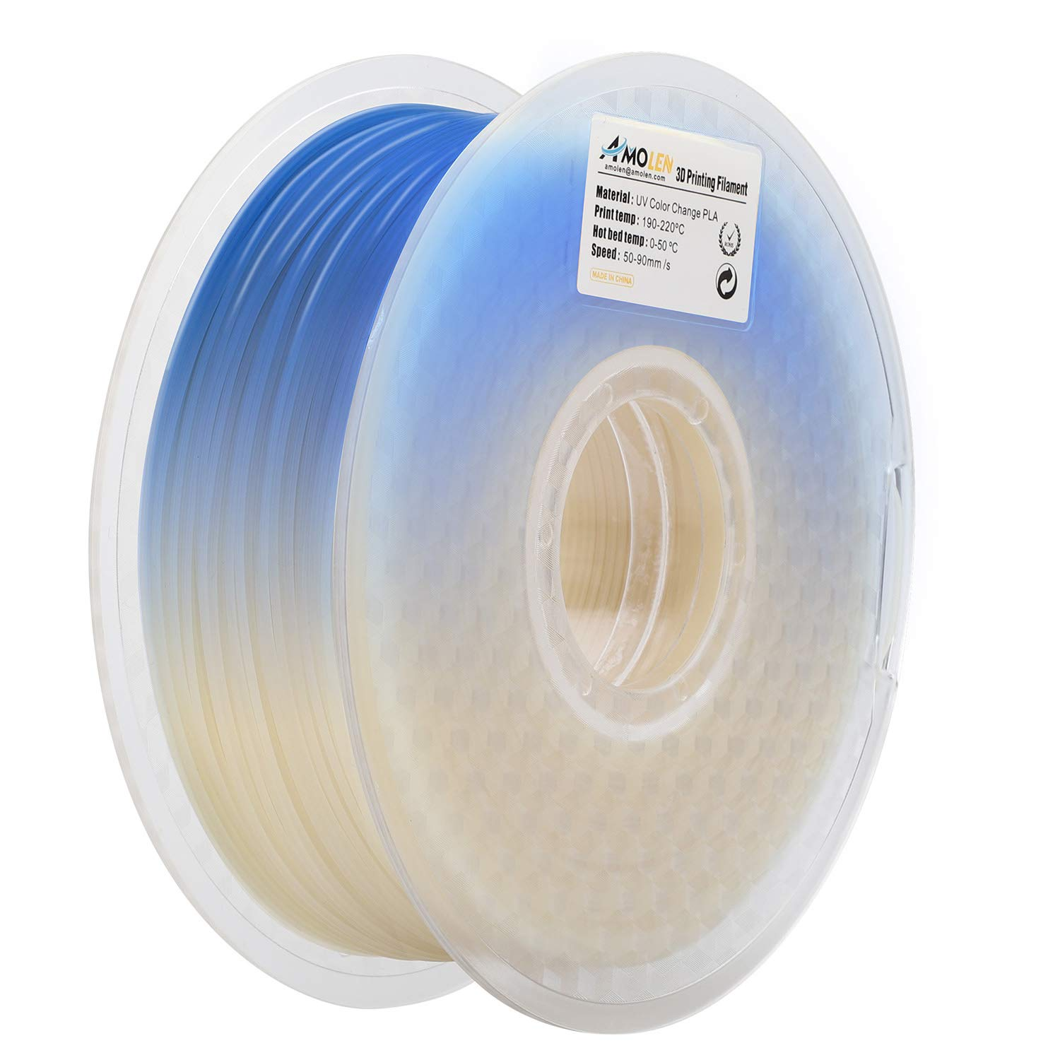 AMOLEN 3D Printer Filament, UV/Sunlight Color Change to Blue PLA Filament 1.75mm +/- 0.03 mm, 0.44 LBS(200G), includes Sample UV Color Change to Purple Filament.