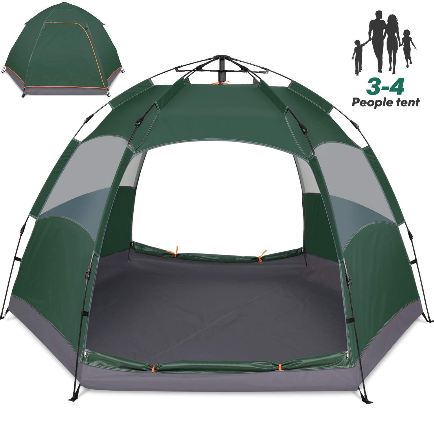 Amagoing 3-4 Person Tents for Camping Instant Setup Tent Double Layer Waterproof for 4 Seasons by Amagoing