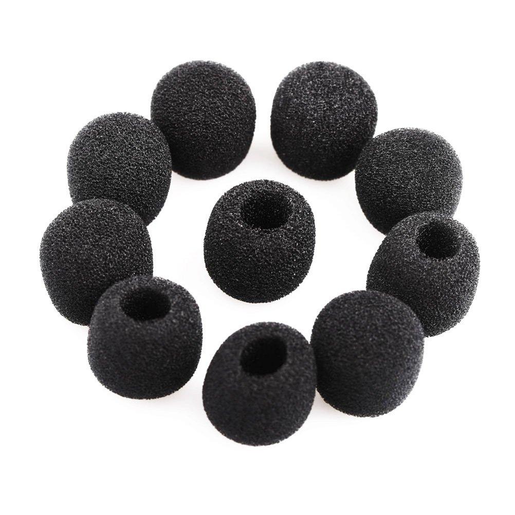 Pixonr 15pcs Small Foam Mic Windshiled Windscreen Covers for Lavalier Lapel Microphone (Black) 1356342G9I45005
