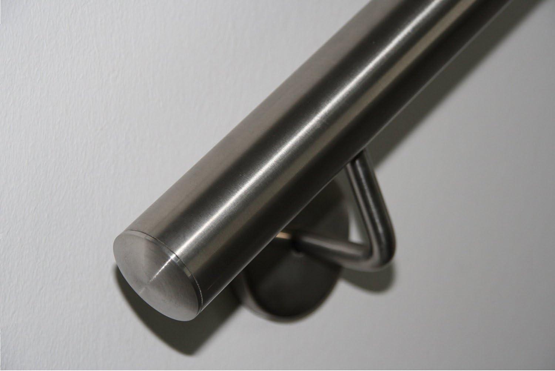 Main courante en acier inoxydable V2A 42,4 mm 240K Main courante murale polie avec embout l/ég/èrement incurv/é 700 mm