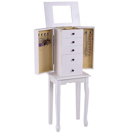 Amazoncom Giantex Jewelry Cabinet Armoire Box Wood Storage Chest