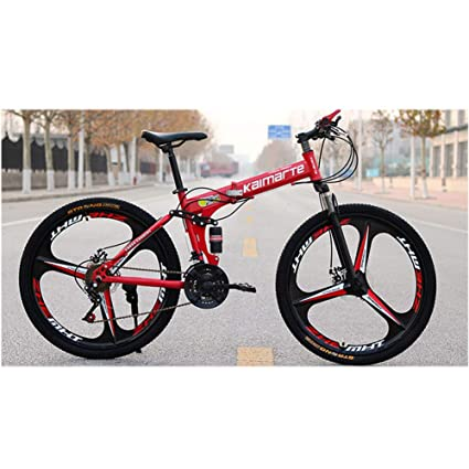 b5fbb0ad233 Folding Mountain Bike Bicycle Damping Transmission Aluminum Alloy 24/26  Inch Double Disc Brake,Red [Energy Class A]