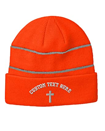 42efdcd29923 Custom Text Embroidered Cone Cross White Unisex Adult Acrylic Reflective  Stripes Beanie Skully Hat - Neon