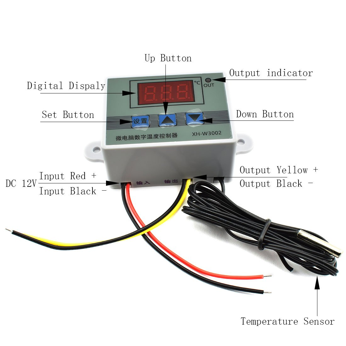 HJ Garden XH-W3002 Mini Thermostat DC 12V 10A Digital LED Temperature Controller -50 to 110 Degree Heating / Cooling Temperature Control Switch with Waterproof Sensor Probe by HJ Garden (Image #2)