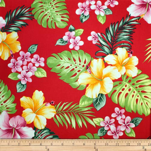 Trans-Pacific Textiles Hawaiian Hibiscus Plumeria Red, Fabric by the ()